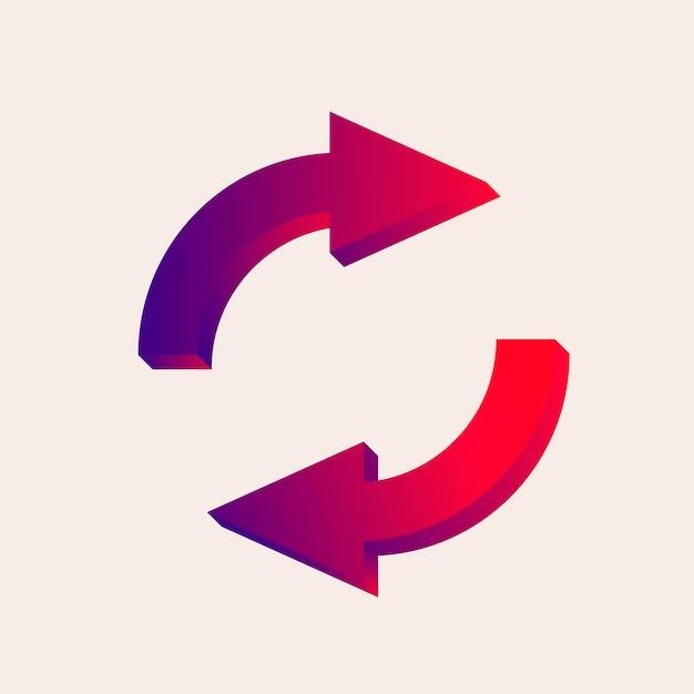 Adesivo de seta, sinal de direção de estrada rotatória em vetor de design gradiente vermelho