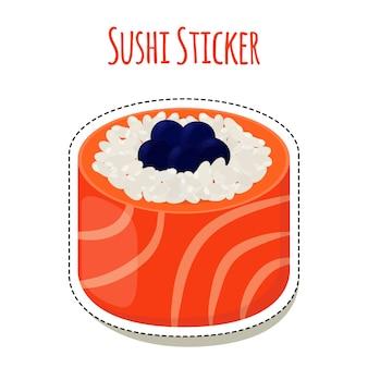 Adesivo de sushi, comida asiática com caviar