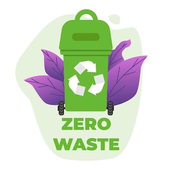 Adesivo de texto zero desperdício sobre lata de lixo verde com placa de reciclagem
