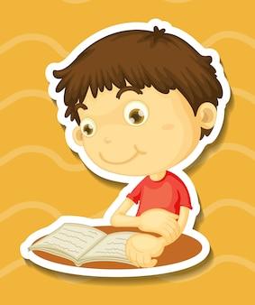 Adesivo de um livro de leitura de menino