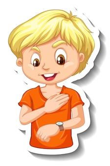 Adesivo de um personagem de desenho animado de menino olhando para um relógio de pulso