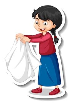 Adesivo de um personagem de desenho animado de pano de secagem de menina