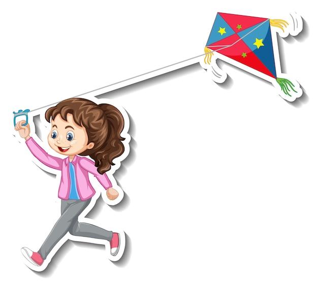 Adesivo de uma garota brincando com um personagem de desenho animado de pipa