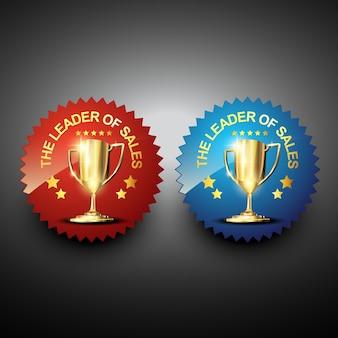 Adesivo de venda vetorial com troféu