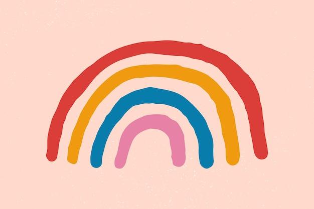 Adesivo de vetor de elemento de arco-íris desenhado à mão