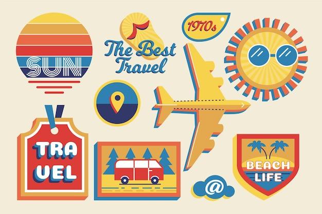 Adesivo de viagem / férias definido no estilo dos anos 70