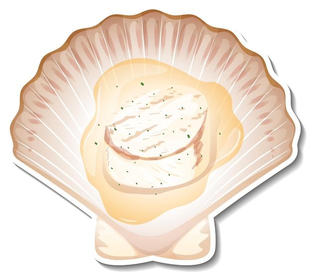 Adesivo de vieira de frutos do mar em fundo branco