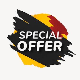 Adesivo distintivo de oferta especial, textura de tinta, vetor de imagem de compra