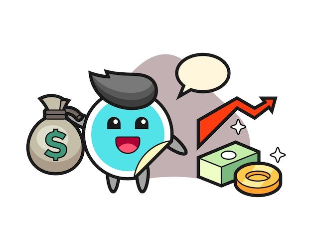 Adesivo dos desenhos animados segurando o saco de dinheiro