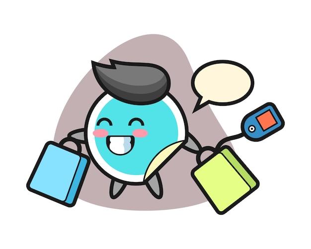 Adesivo dos desenhos animados segurando uma sacola de compras