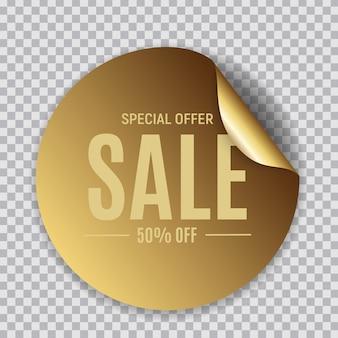 Adesivo dourado de venda de círculo abstrato
