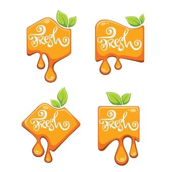 Adesivo, emblema e logotipo com letras brilhantes para suco fresco de frutas cítricas