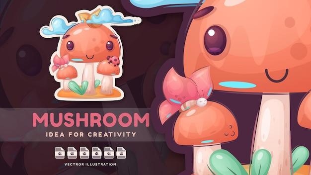 Adesivo engraçado de mushooms de família fofa personagem de desenho animado