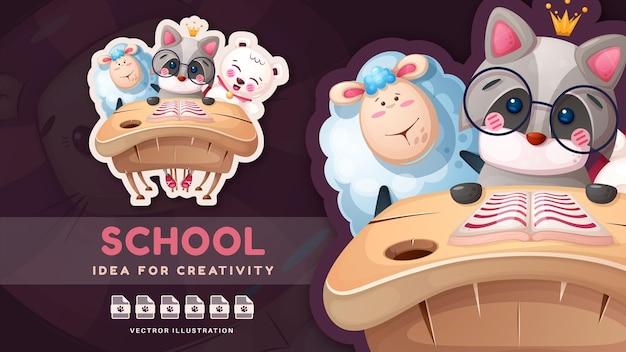 Adesivo engraçado de personagem de desenho animado de volta às aulas