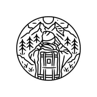 Adesivo exterior vintage, design de crachá, com um homem e montanha schene