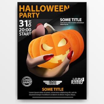 Adesivo festa de halloween com a mão segurando jack o'lanterns