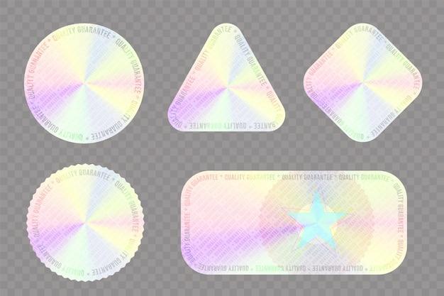 Adesivo holográfico para conjunto de selos de qualidade do produto garantida