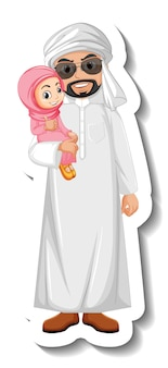 Adesivo homem árabe segurando uma menina no fundo branco
