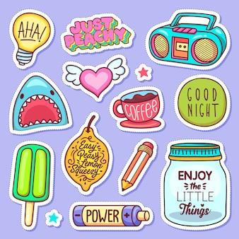 Adesivo ícones mão desenhada doodle
