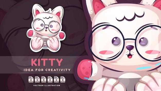 Adesivo infantil de gatinho engraçado de personagem de desenho animado