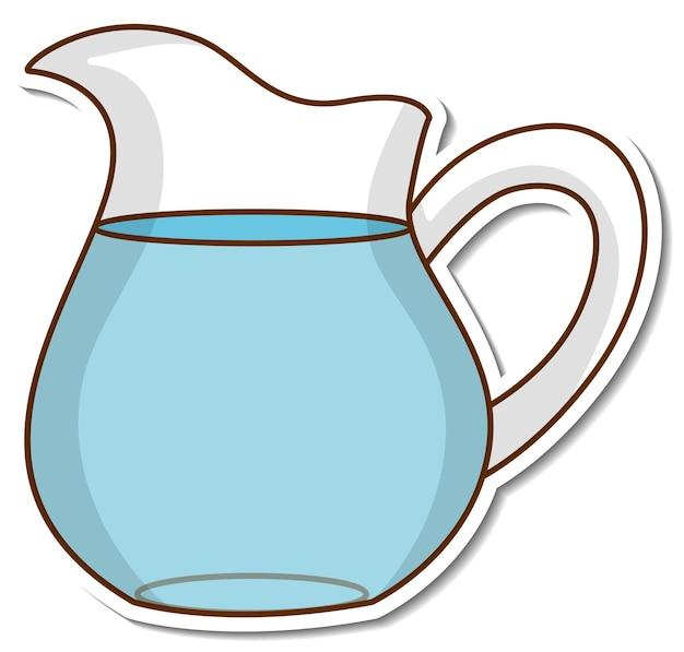 Adesivo jarro de água no fundo branco