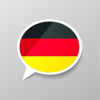 Adesivo lustroso brilhante em forma de bolha do discurso com bandeira da alemanha, conceito de idioma alemão