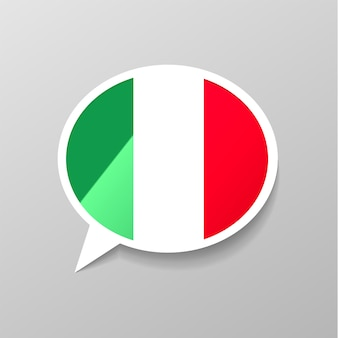 Adesivo lustroso brilhante em forma de bolha do discurso com bandeira da itália, conceito de língua italiana