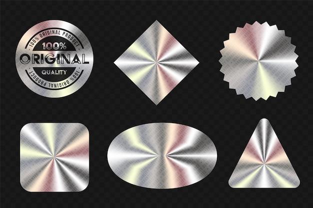 Adesivo metálico realista para conjunto de design de garantia de produto