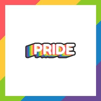 Adesivo ou etiqueta do dia do orgulho em design plano com as cores do arco-íris