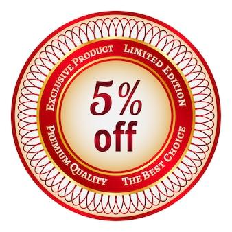 Adesivo ou etiqueta redonda vermelha e dourada com 5 por cento de desconto