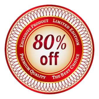 Adesivo ou etiqueta redonda vermelha e dourada com 80% de desconto