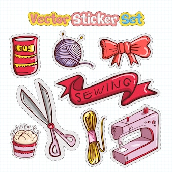Adesivo patches set of sewing icon
