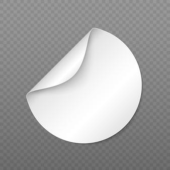 Adesivo redondo de papel tag branco com canto descascado e sombra