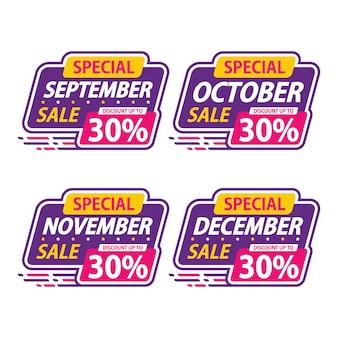Adesivo venda especial mensal promoção setembro desconto