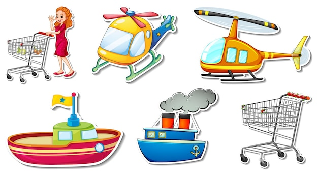 Adesivos aleatórios com objetos de veículos transportáveis