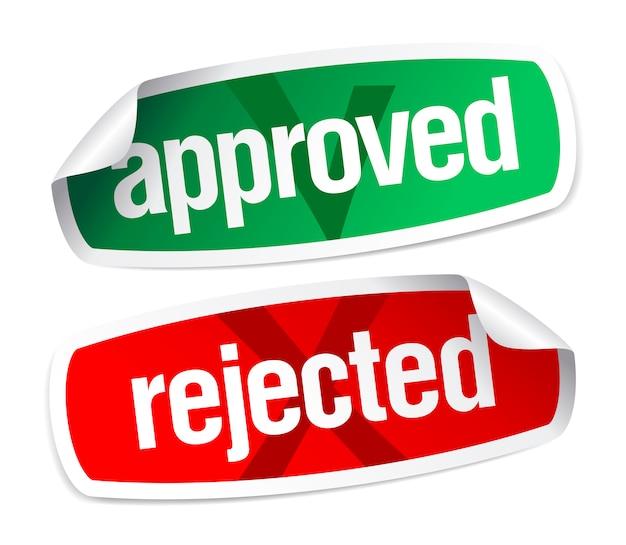 Adesivos aprovados e rejeitados