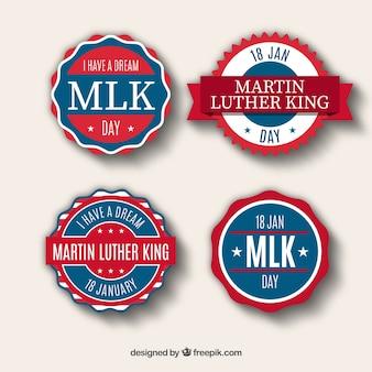 Adesivos azuis e vermelhos para o dia de martin luther king