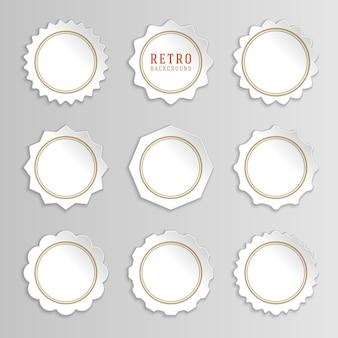 Adesivos brancos vintage e etiquetas com molduras