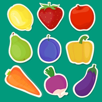 Adesivos brilhantes de frutas e vegetais isolados em um fundo verde com bordas brancas