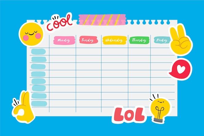 Adesivos calendário de escola de design plano