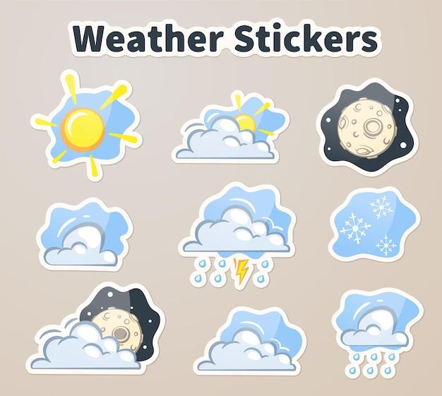 Adesivos coloridos de clima, ilustração vetorial de ícones de clima