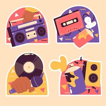 Adesivos coloridos de hip hop ingênuo
