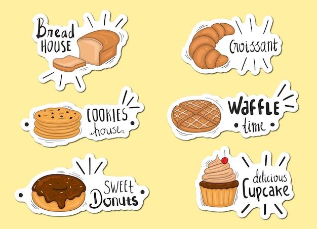 Adesivos coloridos de pão e bolo desenhados à mão