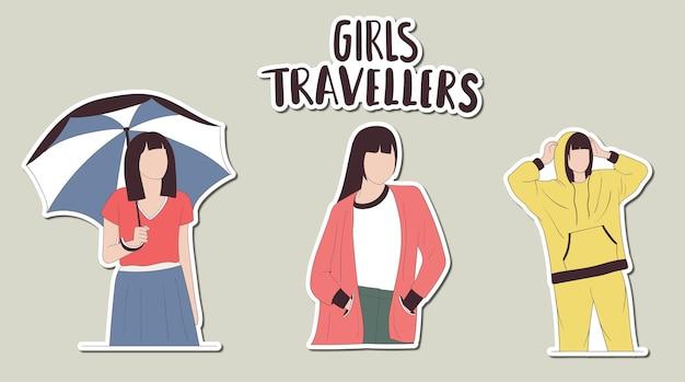 Adesivos coloridos desenhados à mão para meninas