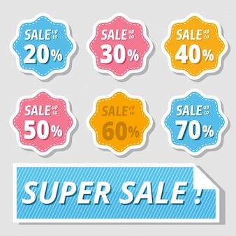 Adesivos coloridos para descontos de vendas