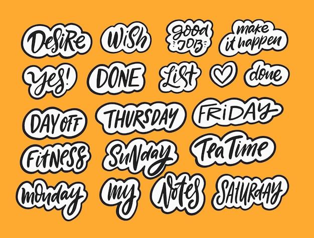 Adesivos com letras definidas para dia mês texto de caligrafia de cor preta desenhada à mão