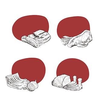 Adesivos com lugar para texto com elementos de carne monocromático de mão desenhada