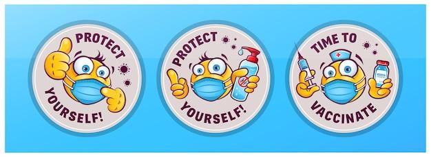 Adesivos com sinais de proteção contra coronavírus, emoticons em máscaras médicas