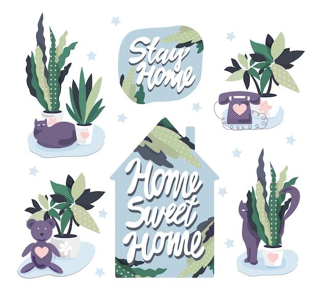 Adesivos com texto, plantas de casa e gatos. decoração de desenho animado. objetos isolados.