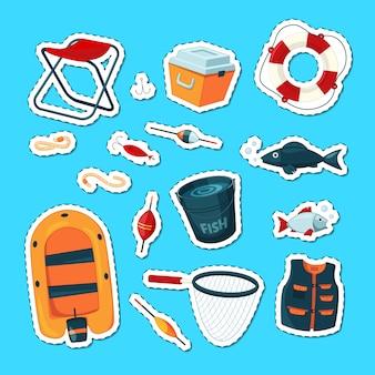Adesivos conjunto com equipamento de pesca colorida dos desenhos animados isolado